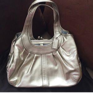 Authentic Coach Silver Shoulder Bag